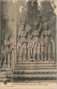 Old Postcard Angkor Wat Cambodia Fragment of Bas Relief Management of a Portes