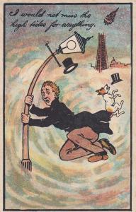 London Thames High Tides Street Lamp Disaster Comic Old Postcard
