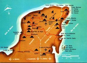 Map Of Yucatan Peninsula Mexico 1988