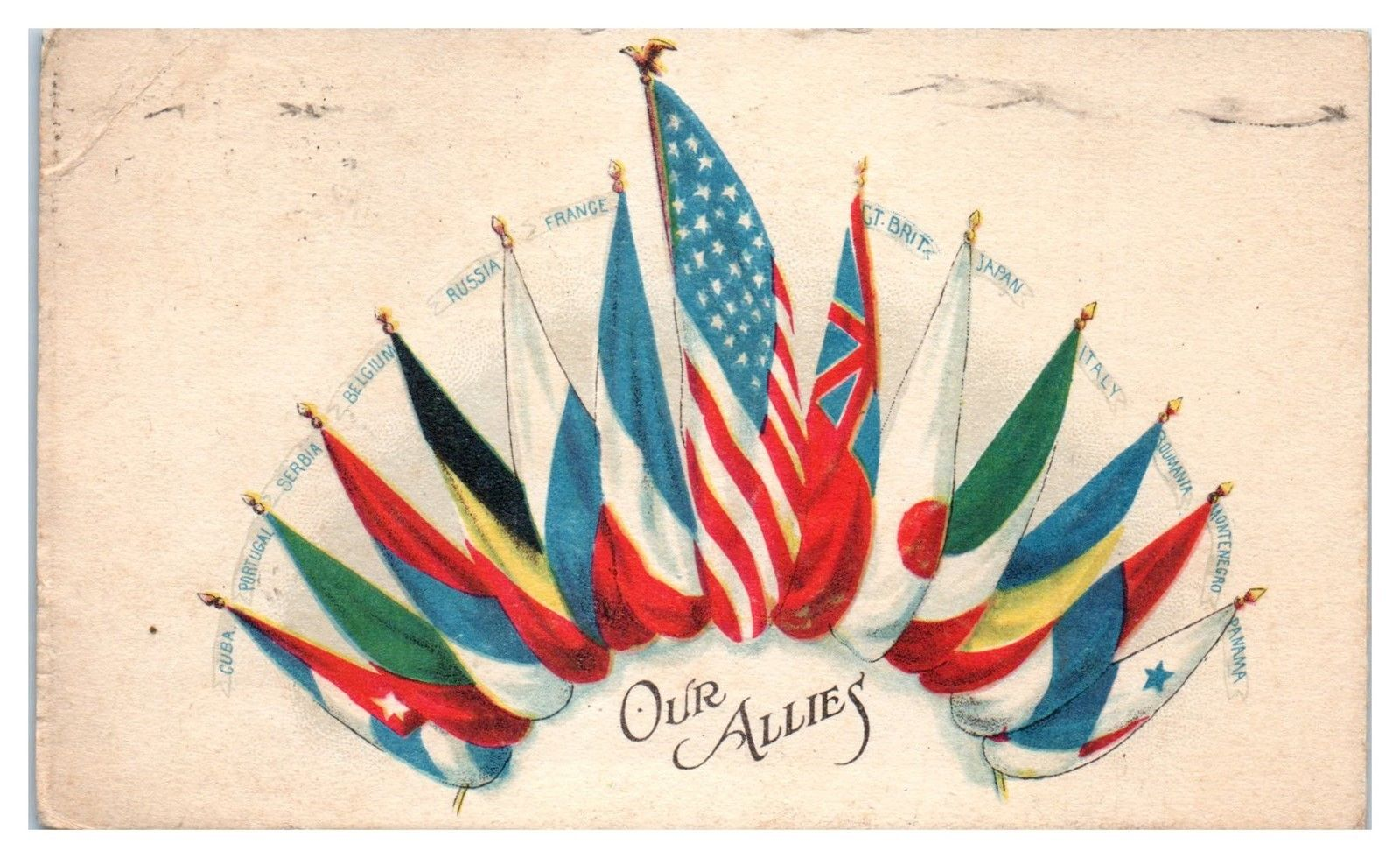 1918 WWI Allied Powers Flags, Our Allies Postcard / HipPostcard