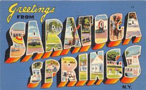 Saratoga Springs New York~Race Track-Horse Race~1940s Large Letter Linen Pc