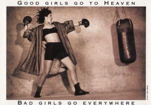Bad Girl Boxer Fighting Training Boxing Good Girls Go To Heaven Postcard