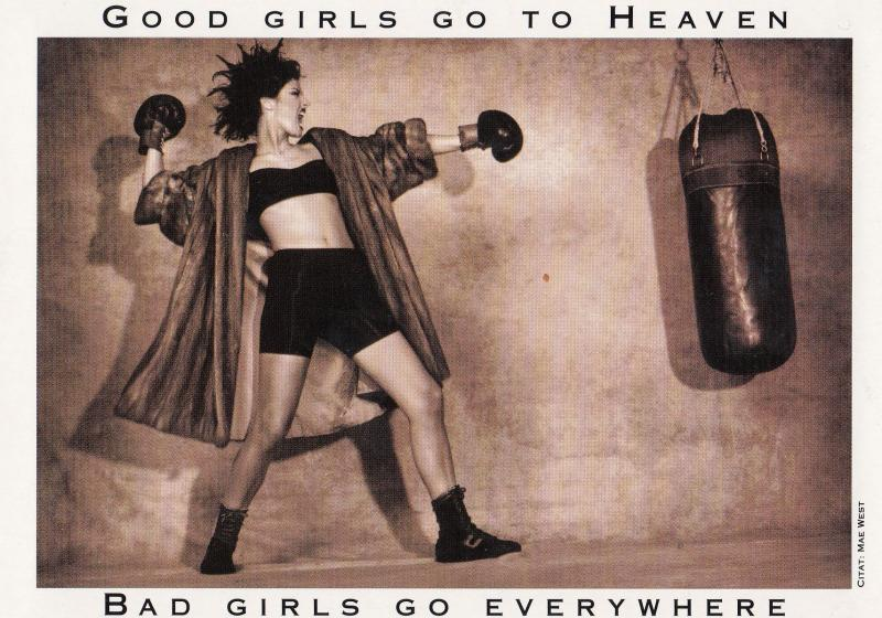Bad Girl Boxer Fighting Training Boxing Good Girls Go To Heaven Postcard