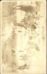 Boys in Cowboy Outfits w/ Their Horses - Doubleday Real Photo Postcard