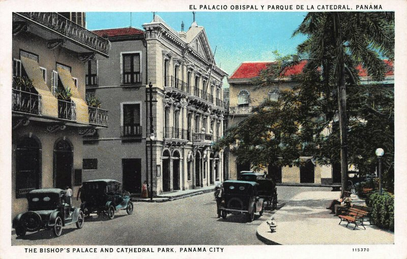 Bishop's Palace and Cathedral Park, Panama City, Panama, Early Postcard, Unused