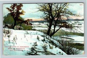 Menominee WI-Wisconsin, Marinette Winter River Scene, Vintage c1912 Postcard