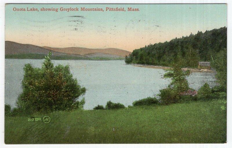 Pittsfield, Mass, Onota Lake, showing Greylock Mountains
