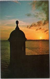 Old Spanish sentry box at entrance of Old San Juan, Puerto Rico view at sunset