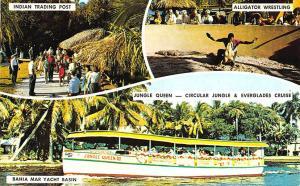 Fort Lauderdale FL Jungle Queen III Indian Trading Post Alligator Postcard