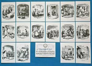 NEW Set of 16 A6 Postcards Oliver Twist Illustrations by George Cruikshank