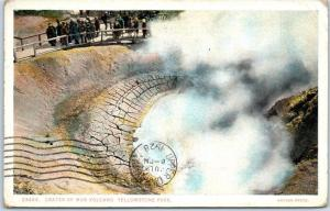 Yellowstone National Park Postcard CRATER OF MUD VOLCANO Haynes 1928 Cancel