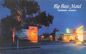 Leesburg Florida~Big Bass Motel~Neon Night Lights~1950s Car~Postcard
