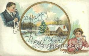 Happy new year Telephone Postcard Post Card Old Vintage Antique  Happy new year