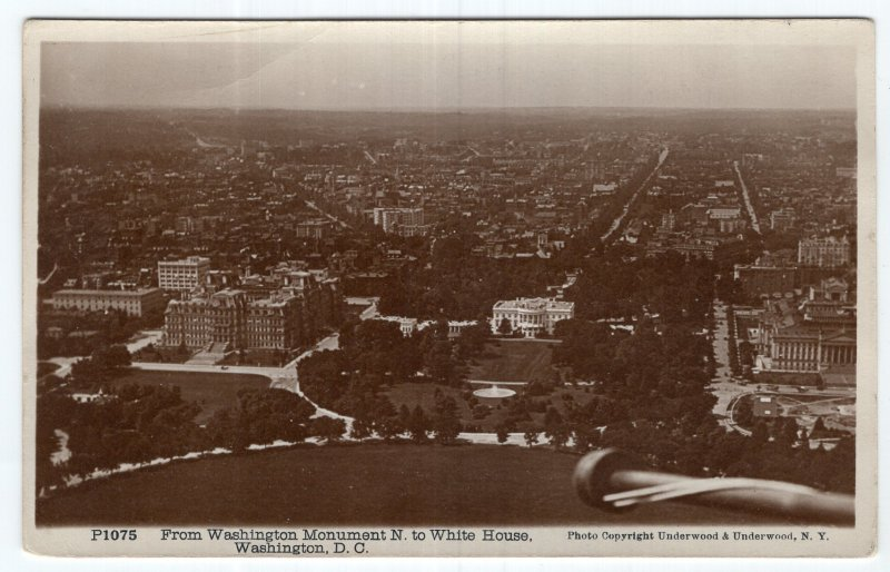Washington, D.C., From Washington Monument N to White House, RPPC