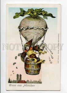 288391 GRUSS aus MUNCHEN Balloon & BEER HB Vintage ADVERTISING