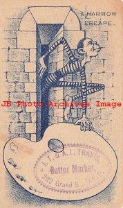 317381-Black Americana Victorian Trade Card,Travis Butter Market,A Narrow Escape