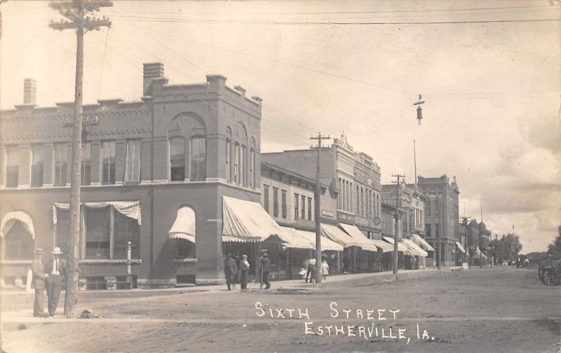 Estherville Iowa~Sixth Street~Folks Gather by Stores~Basement Barber~1912 RPPC