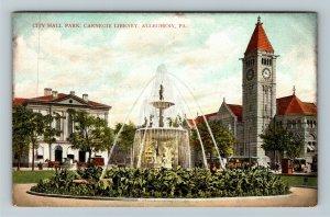 Allegheny PA-Pennsylvania City Hall Park, Carnegie Library, Vintage Postcard