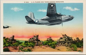 US Planes and Tanks During Maneuvers WW2 Military Unused Linen Postcard G61