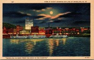 Lot of 5 : Wheeling, WV West Virginia Vintage Race Aerial View Linen Postcard