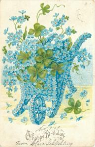 Blue Forget-Me-Nots Floral Wheelbarrow~Front View~Shamrocks~Emboss~1909 PC