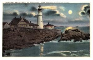 Maine Portland  Head Lighthouse by moonlight