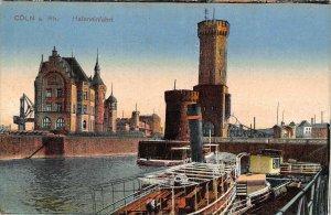 Coln am Rhein Hafeneinfahrt Harbour boats Tower Postcard