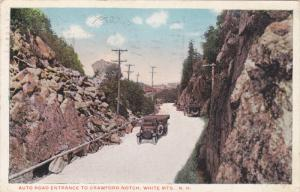 WHITE MOUNTAINS, New Hampshire, PU-1919; Auto Road Entrance To Crawford Notch...