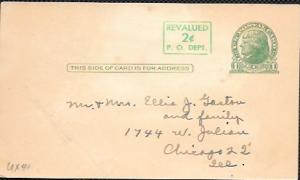 US  Pre-stamped Postcard UX 41 Jefferson revalued.
