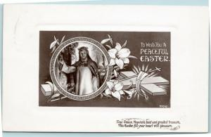 To Wish you a Peaceful Easter - Christ with cross and flowers - Posted 1908