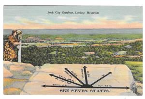 TN Rock City Garden Lookout Mountain See Seven States Vintage Tennessee Postcar