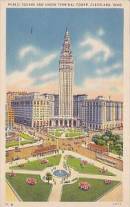 Ohio Cleveland Public Square And union Terminal Tower 1940