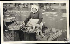 Scandinavian Fish Market Woman Seller Costumes 30s RPPC