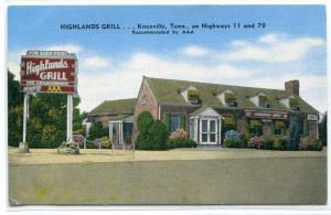 Highlands Grill Restaurant Knoxville Tennessee linen postcard