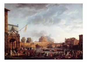 Postcard Art A SPORTING CONTEST ON THE RIVER TIBER, ROME C.J Vernet MU2214 #27