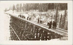 Men Working Railway Trestle Bridge Clearing Snow ? Unknown Loc RPPC Postcard F79