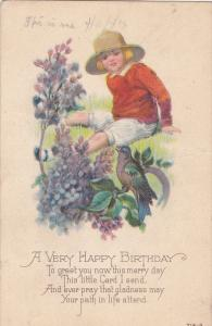 Girl in Straw Hat Watching Bird in Flowers, A Very Happy Birthday 1923