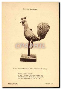 Old Postcard Rooster Hen Sessenheim Old Cock