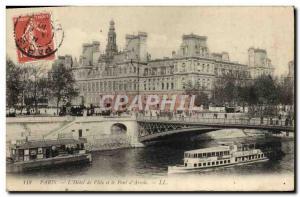 Old Postcard Paris L & # 39Hotel City and the bridge & # 39Arcole boat Peniche