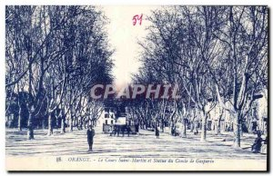 Postcard Old Orange Course and Saint Martin statue of Count Gasparin