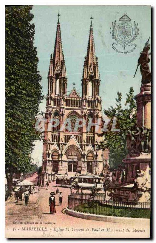 Postcard Old Marseille Church of St. Vincent de Paul and Monument Mobile