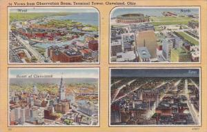 Ohio Cleveland Views From Observation Room Terminal Tower 1942