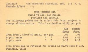 San Francisco~Paraffine Co~Pure Linseed Oil Price Postal~Portland & Seattle 1933