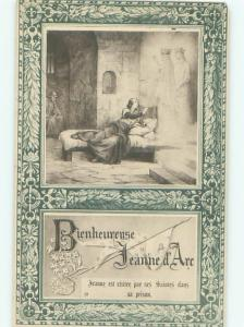 foreign 1934 Postcard JOAN OF ARC IN PRISON IN FRANCE AC3414