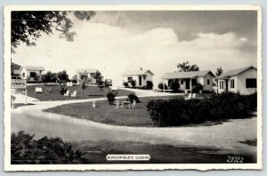 Sevierville Tennessee~Burchfield's Cabins~Roadside Motel~1930s Cars~B&W Postcard