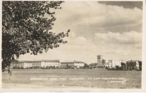 Barracks and Post Theatre ~ Fort Sam Houston Texas TX ~ c1944 RPPC Postcard