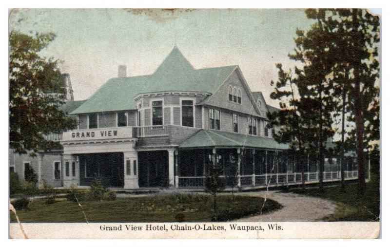 1914 Grand View Hotel, Chain-O-Lakes, Waupaca, WI Postcard