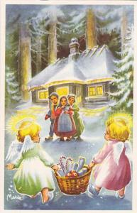 gott nytt ar, Angels carrying basket of gifts to three children waiting outsi...