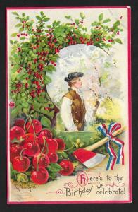 Washington Birthday As Adult Hatchet & Cherries Unused c1910