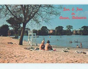 Unused Pre-1980 SCENE AT BEACH Dover Delaware DE M6510@